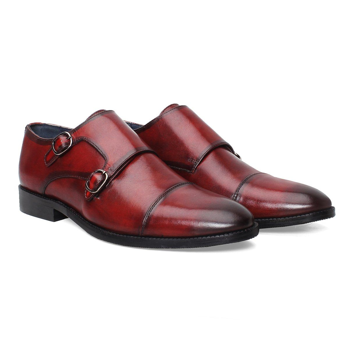 7859dfbc87b73 Buy #Burgundy Hand Finished #Leather Double Monk Strap #Formalshoes at  Rs.4,999/- @ #Voganow.com