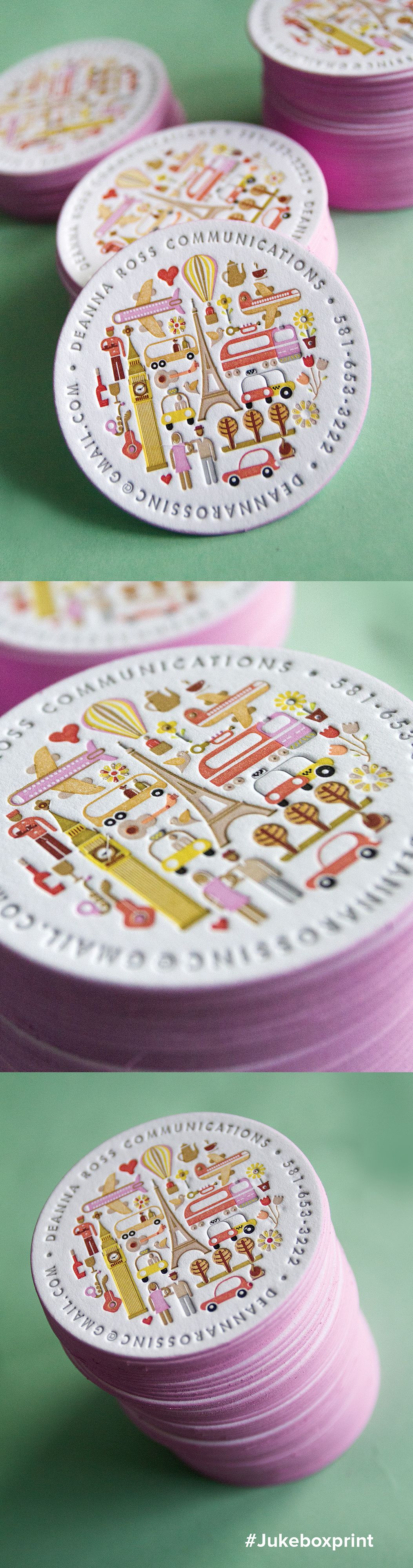 Cute circular business card produced with 15 colors of Letterpress ...