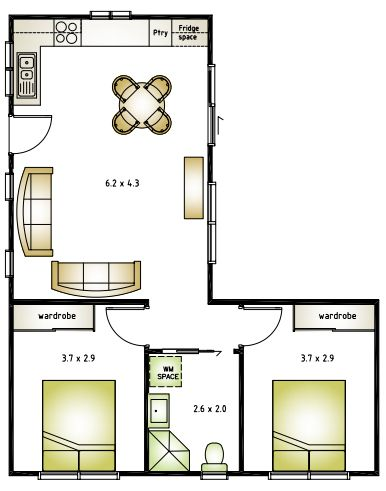 Image result for l shaped 50 sqm granny flat plan granny for Apartment design 70m2