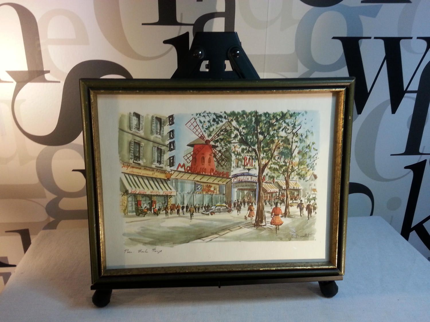 Vintage Framed Lithograph watercolour by C. Ducollet \