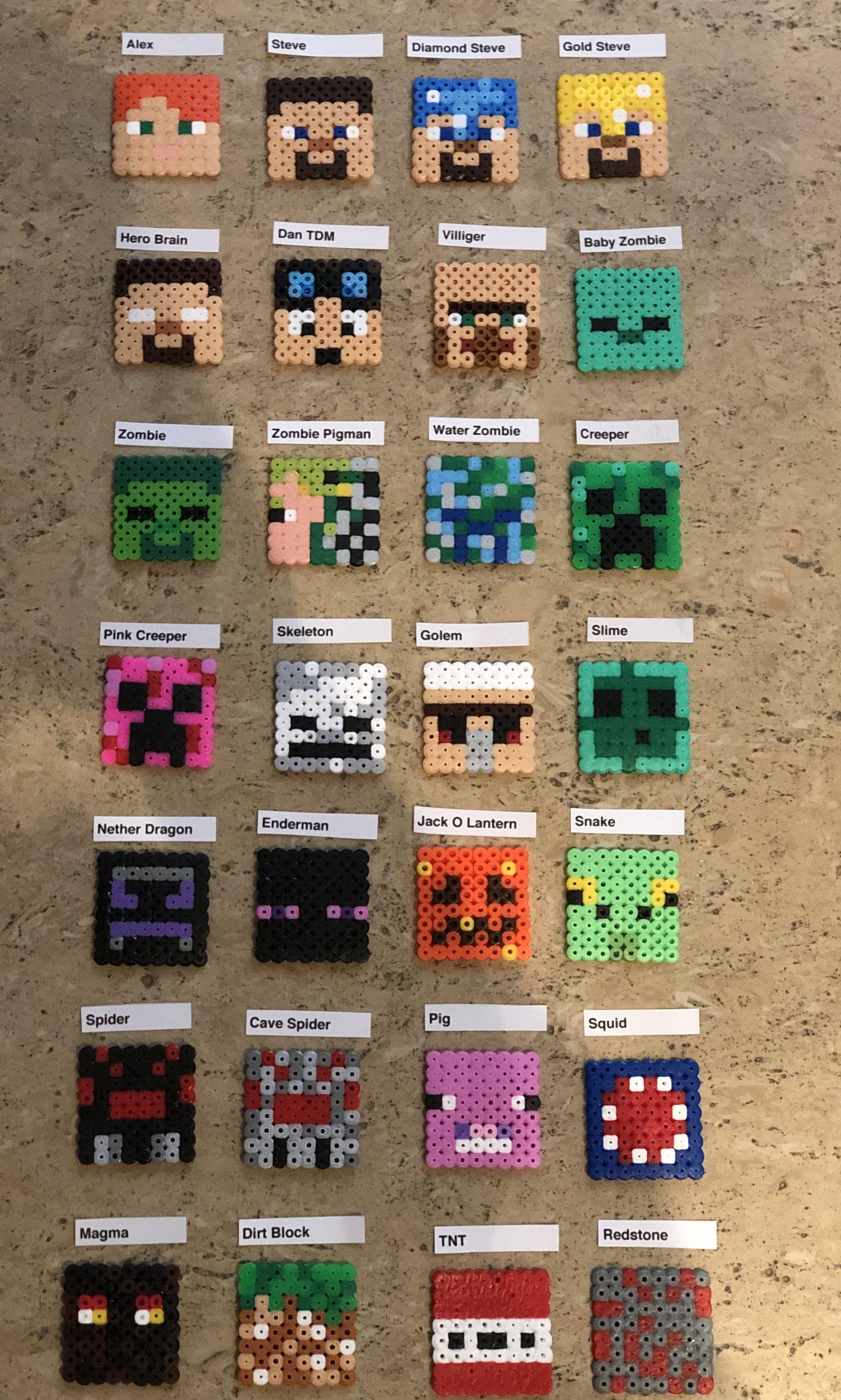 Bugelperlen Vorlage Minecraft 3 Hacke Perler Beads Youtube