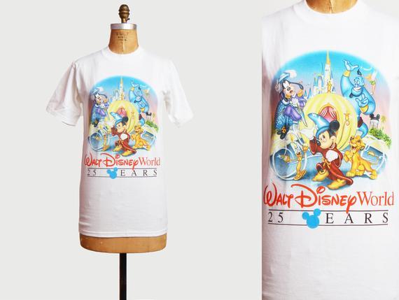 Vintage 90s Mickey Mouse Fantasia Tshirt 1990s Walt Disney World 25th Anniversary Shirt Graphic Cartoon T Shirt Retro Tee Hipster Small S Cartoon T Shirts 25th Anniversary Mickey Mouse