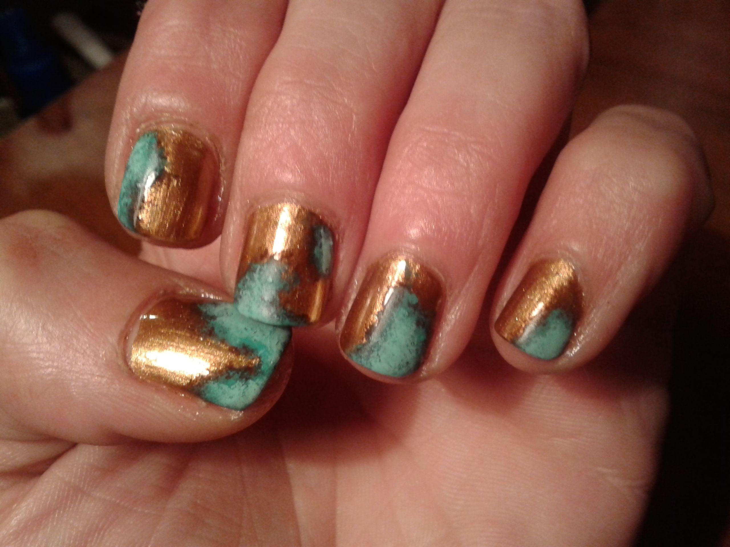 copper patina nails - metallic