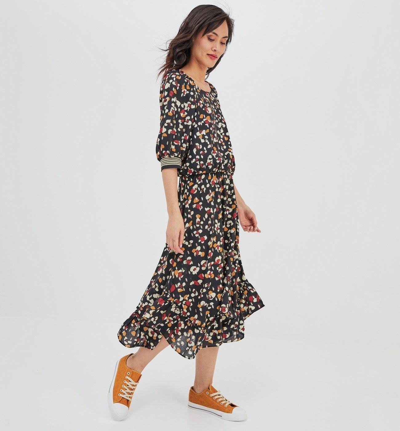0edd3b5fcc0ac Robe longue imprimée Femme - Imprimé noir - Robes - Femme - Promod ...