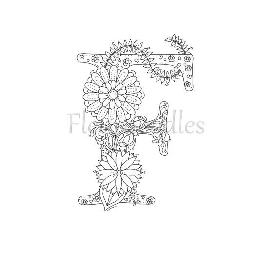 adult coloring page - floral letters, alphabet F, hand lettering ...
