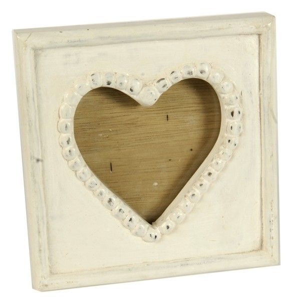 Small Wooden Heart Photo Picture Frame Antique White White Wooden