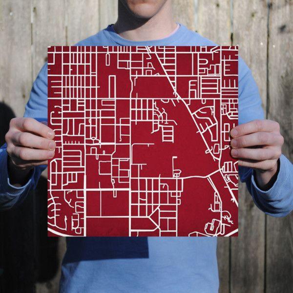 University Of Oklahoma Campus Map Art City Prints Map Art University Of Oklahoma Map Art Print