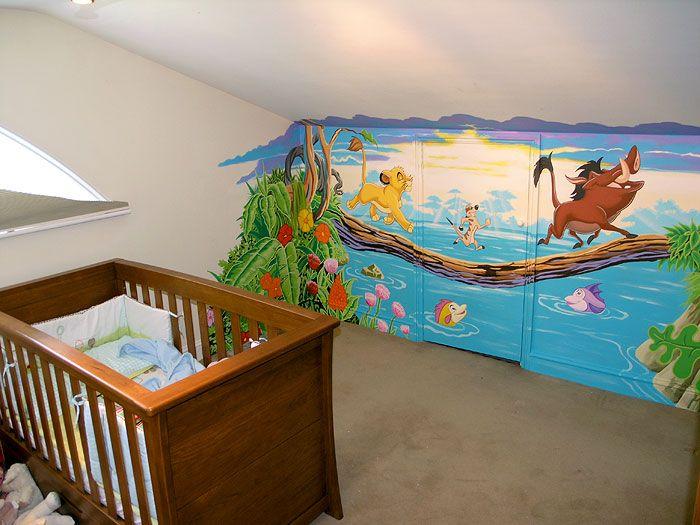 Disney S Lion King Wall Mural Handpainted In Attic Room Nursery Hiding A Cupboard Door Beautifully