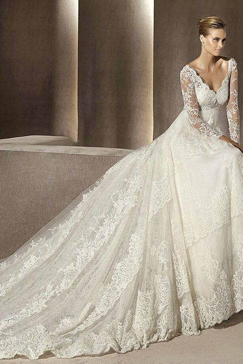 Buy Cheap V Neck Tiered Lace Pleated Empire Vintage Bridal Gowns ...