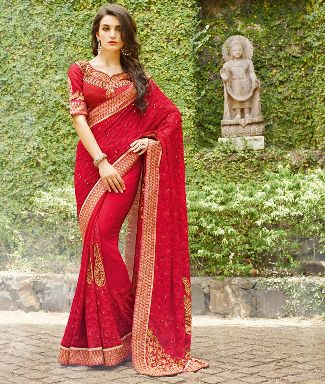 dab82456d2 Kvsfab Red Georgette Embroidered Saree KVSSR2905KAS | زى متنوع ...