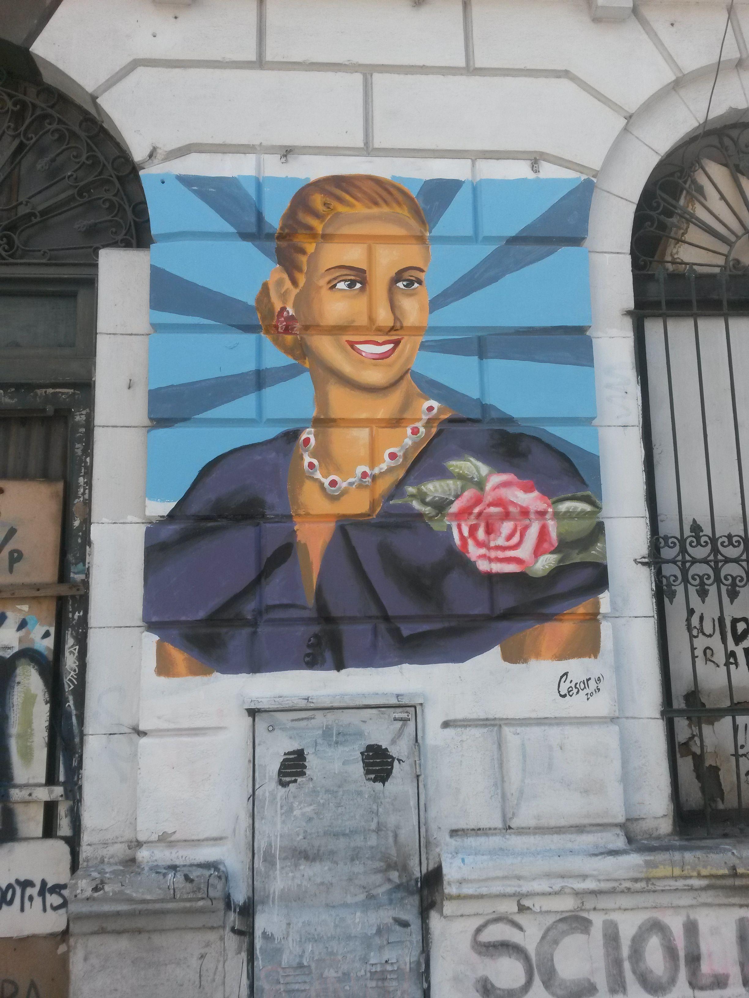 Evita street painting in San Telmo