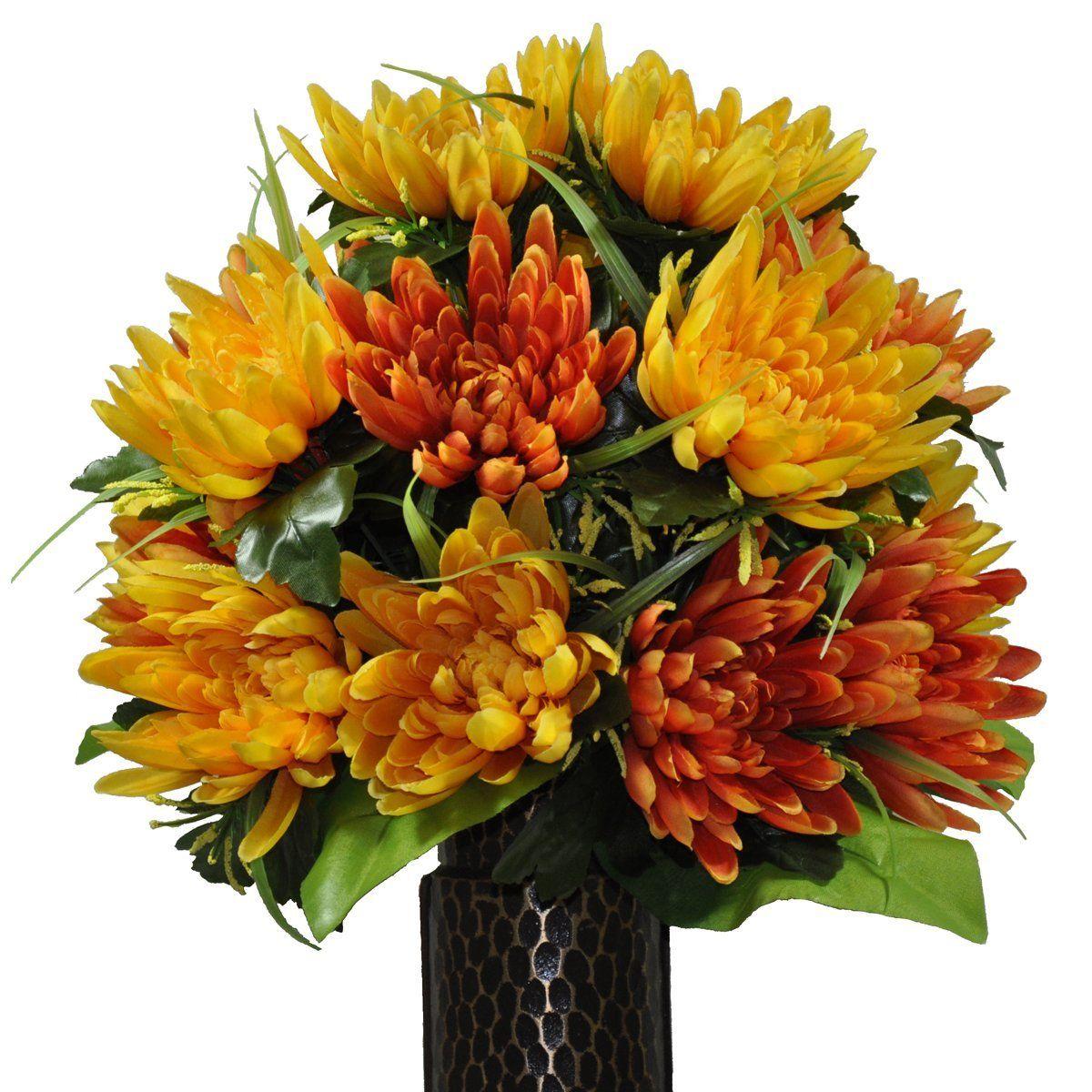 Orange fuji mum silk flower bouquet with stay in the vase design orange fuji mum silk flower bouquet with stay in the vase design reviewsmspy
