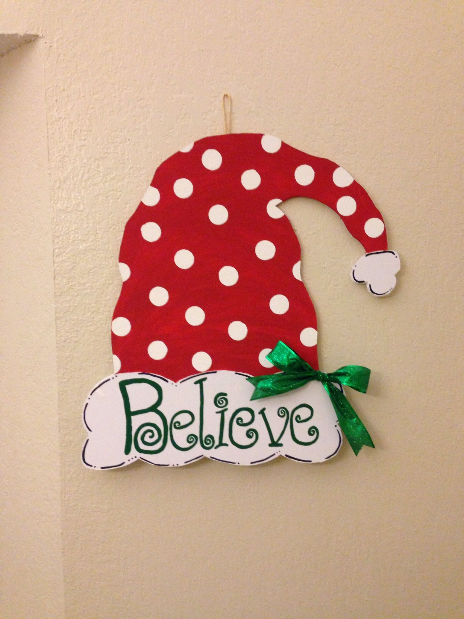 Christmas Decoration Door Hanger Made Out Of Foam Board Believe