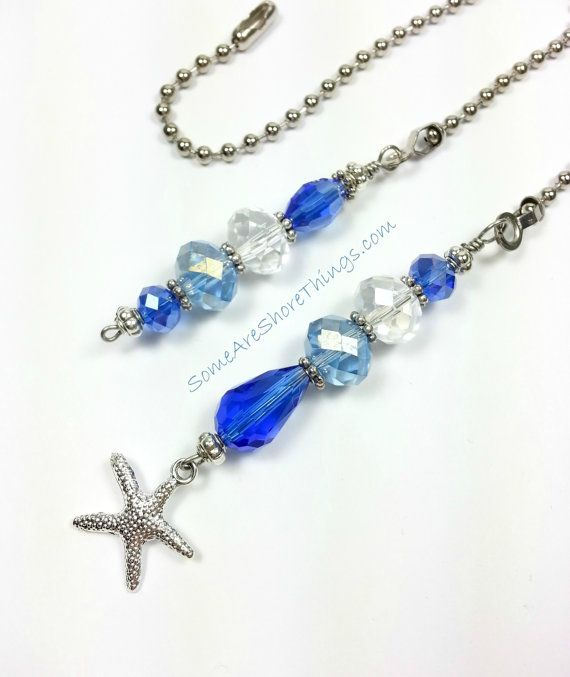 Large Glass Ceiling Fan Pulls: Ceiling Fan Pulls Set Of Two Beaded Glass With Starfish