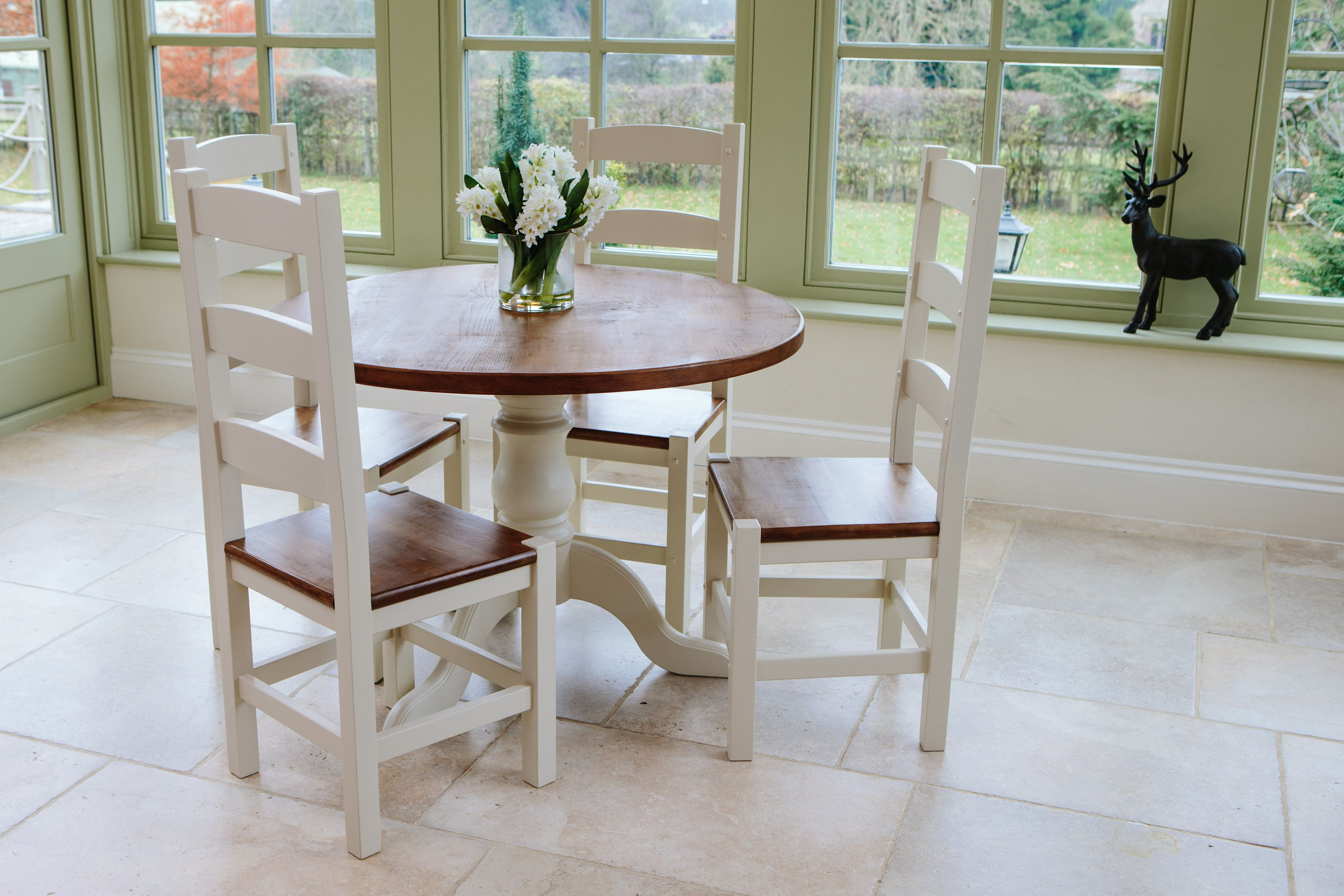 Painted round dining table  Hardwick Round Dining Table in a hand waxed u Farrow u Ball Paint
