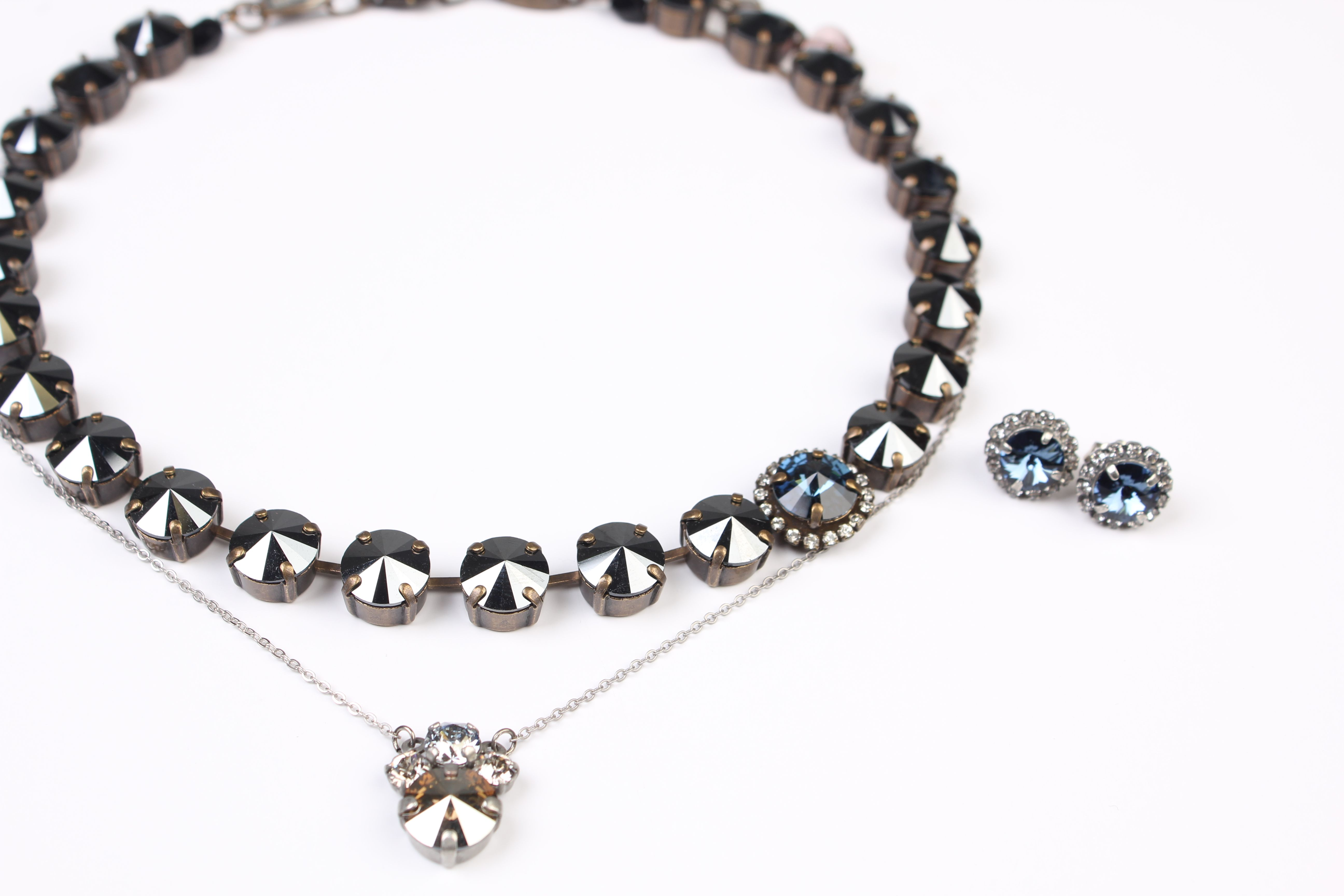Sabika look necklace - Rhinestone Cowboy Manhattan Choker Paired With Edition Chic Cool Cluster Necklace And Heart Stripes