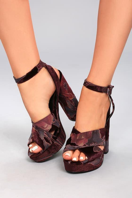 Make the dance floor yours in the Steve Madden Jodi Burgundy Velvet  Platform Ankle Strap Heels