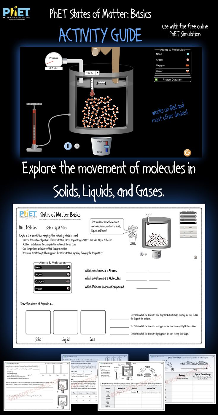 Phet States Of Matter Activity Guide Distance Learning Matter Activities States Of Matter Science Teaching Resources