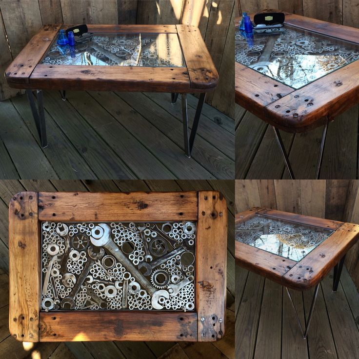 Fabricated Steel Coffee Table: Metal & Wood Coffee Table. Various Wrenches, Nuts, Washers