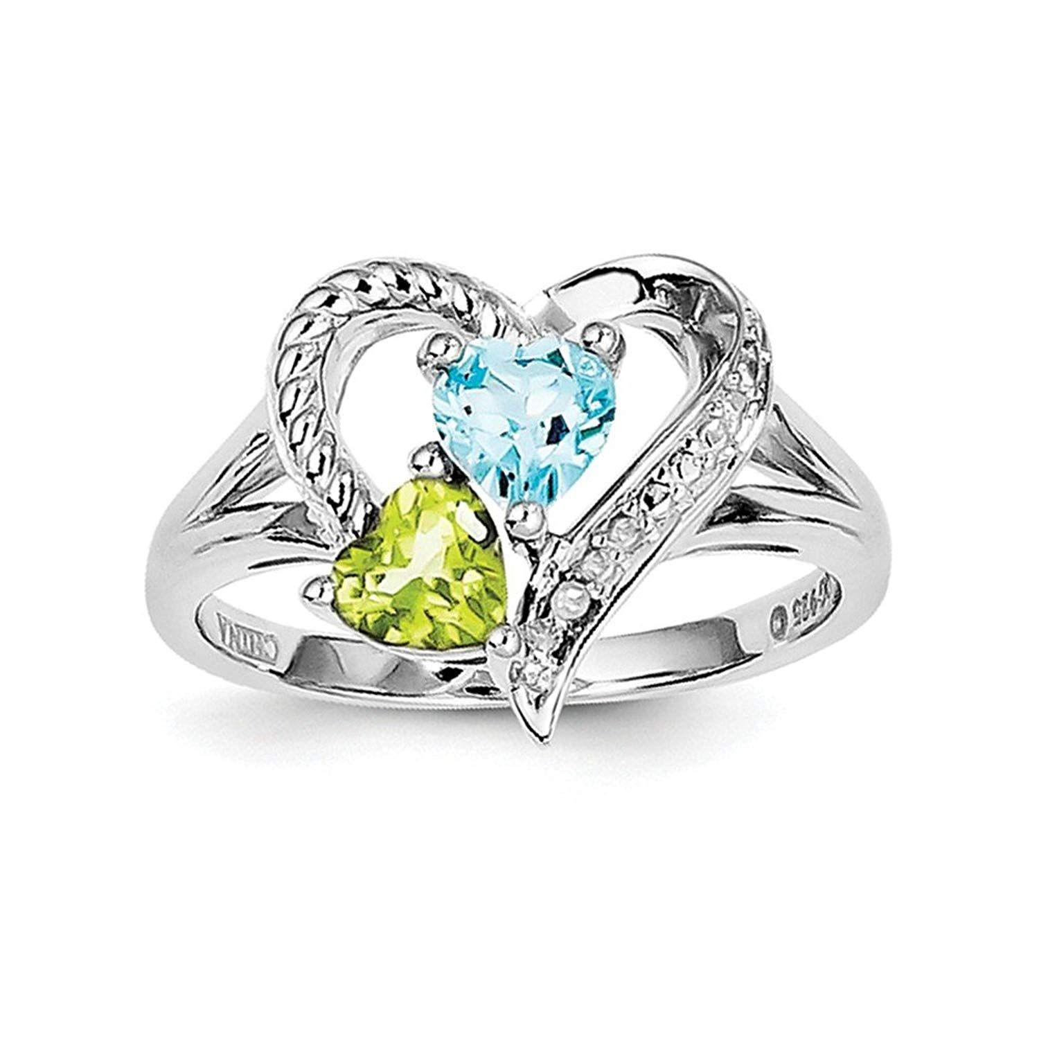 925 Sterling Silver Rhodium-plated Polished Peridot Link Bracelet 8