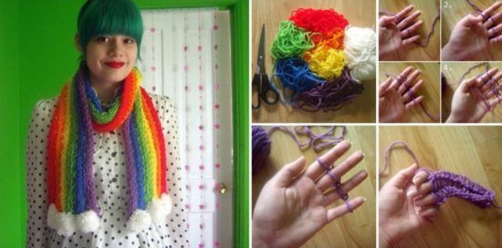Finger Knit Rainbow Scarf No Tools Required Video Tutorial Finger