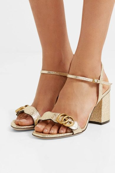 9b0443a21fb Gucci - Marmont Embellished Cracked-leather Sandals - Gold