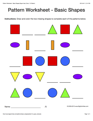pattern worksheets for kids colored basic shapes 1 2 pattern draw and color the two missing. Black Bedroom Furniture Sets. Home Design Ideas