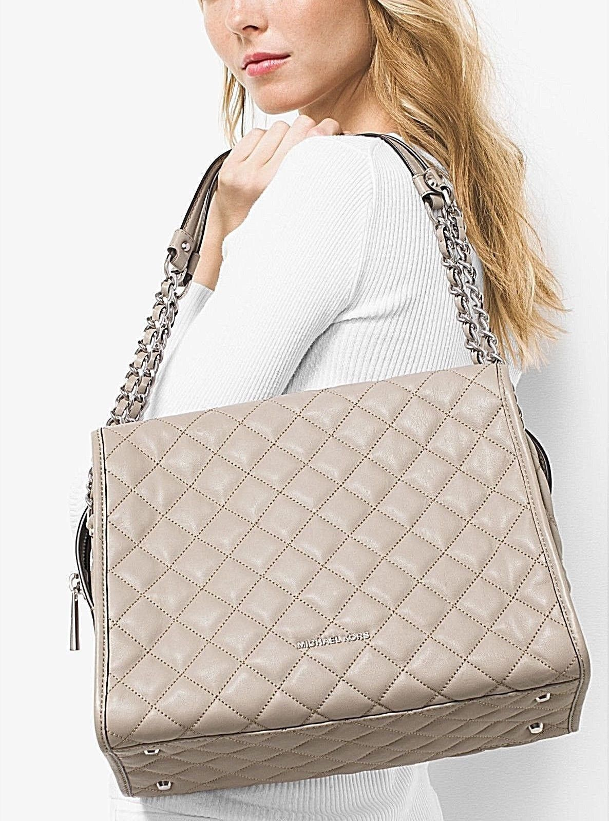 71f8d26a125bce Mk Rachel Large Cement Quilted Leather Shoulder Bag | bag it | Bags ...