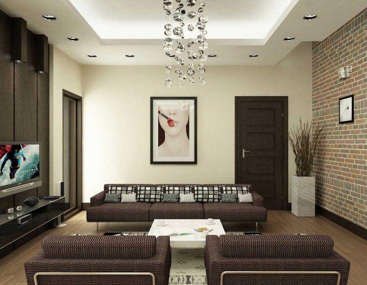 elegantes Wohnzimmer in Braun mit Backstein Tapete astrid - wohnzimmer farben braun grun