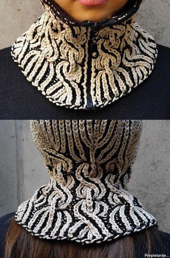 Unique lux woolen winter hood with neck-warmer/Warm balaclava/Hand ...