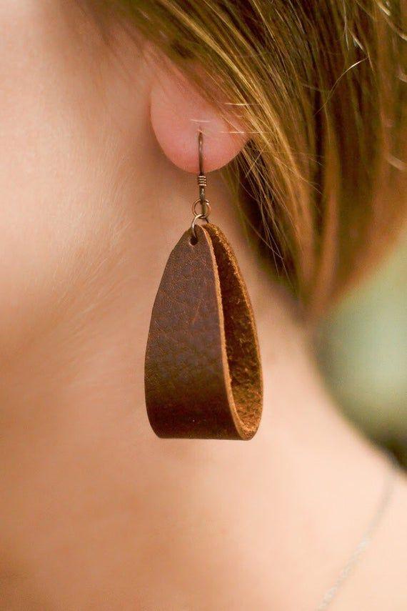 Photo of Handmade leather earrings – wide folded teardrop shape – multiple colors available