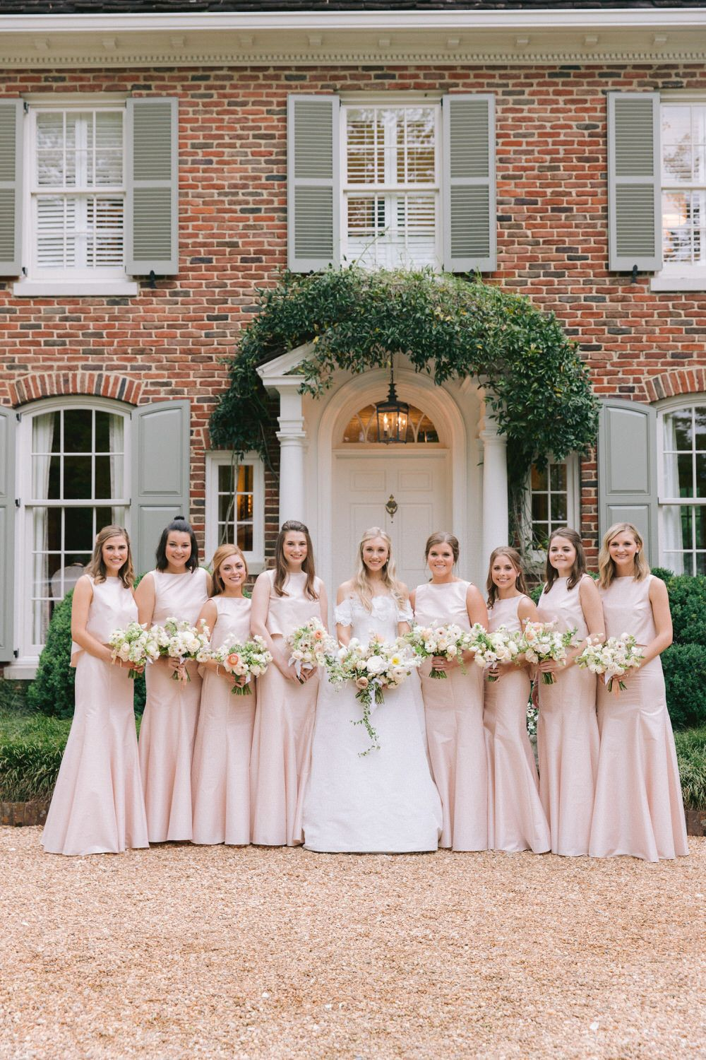 bride with her bridesmaids in floor length blush dresses | Birmingham wedding inspiration |  #bridesmaidbouquets