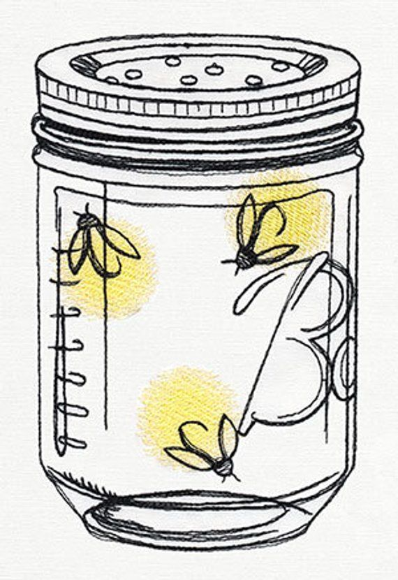 Firefly Ball Canning Jar Embroidered Waffle Weave Hand/Dish Towel