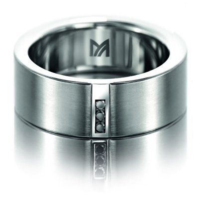 meister three black diamond mens ring