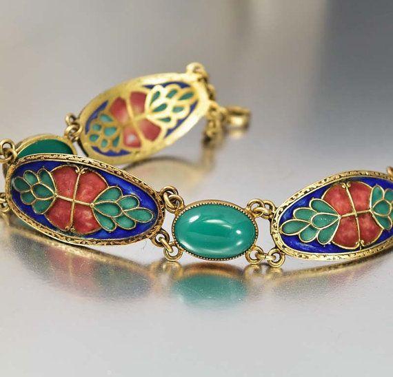 Art Nouveau Bracelet Plique a Jour Enamel Sterling by boylerpf