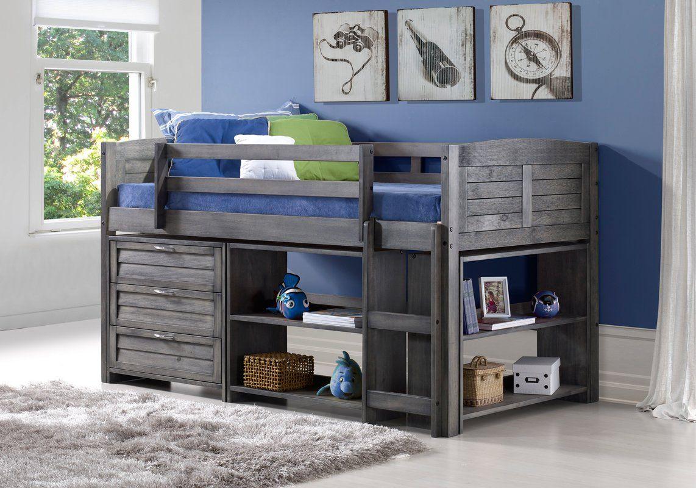 Best Evan Modern Twin Low Loft Bed With Storage Low Loft Beds 400 x 300