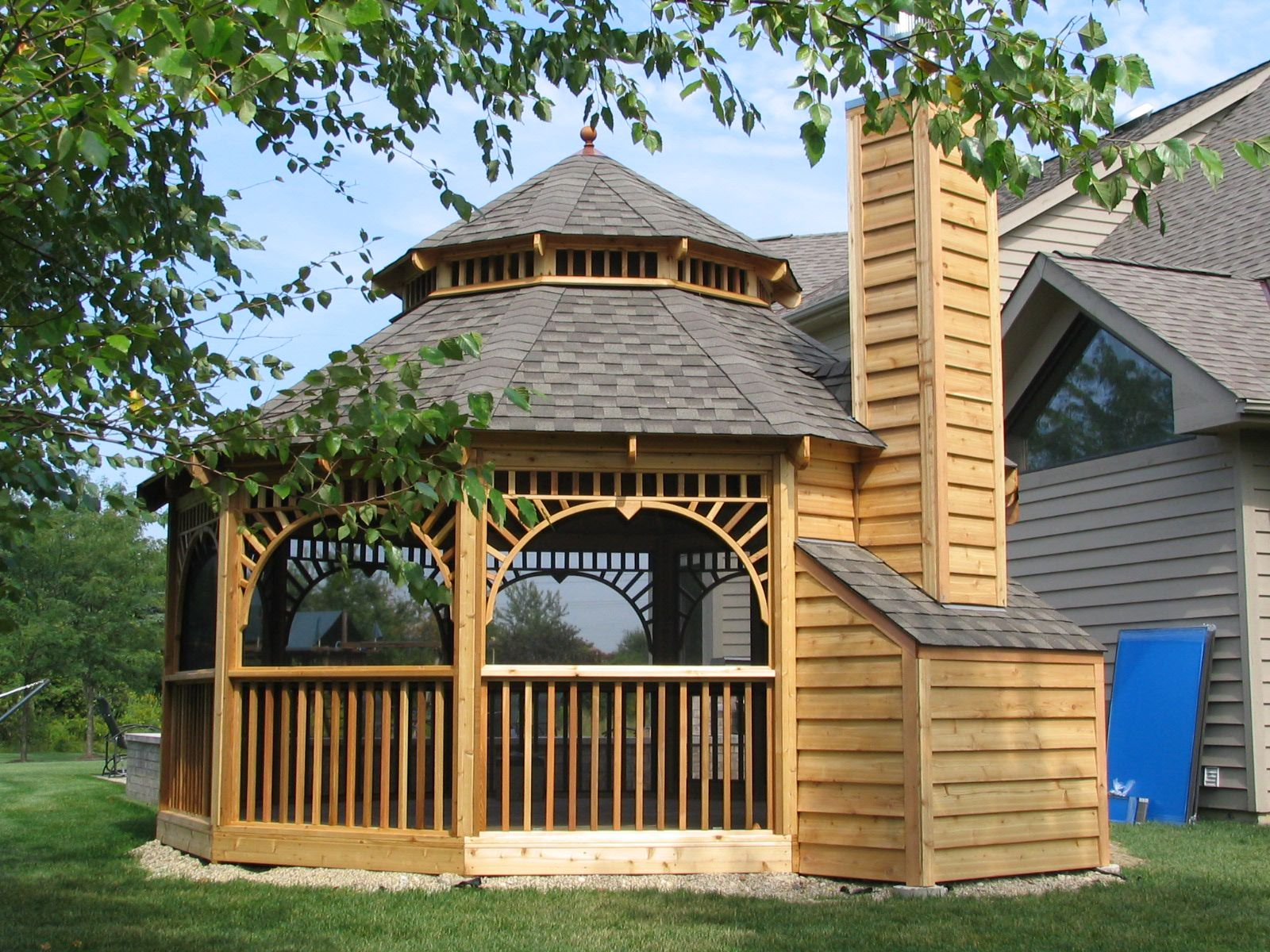 Exterior Gorgeous Wood Gazebo Design Beside Outdoor Floor Lamp And Plant Also Flowers Decorating Ideas From 18 Wooden Designs