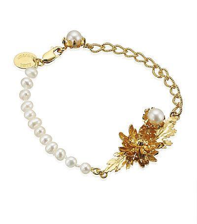Alex Monroe Chrysanthemum And Pearl Bracelet.