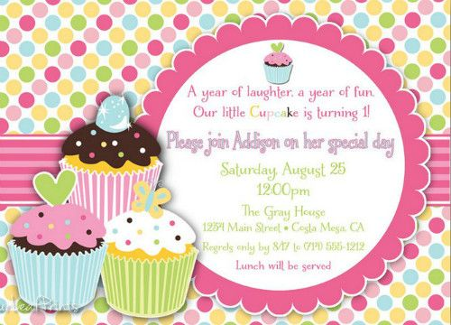 Baby Girl 1st birthday Card Ideas Kids Birthday Invitations Baby