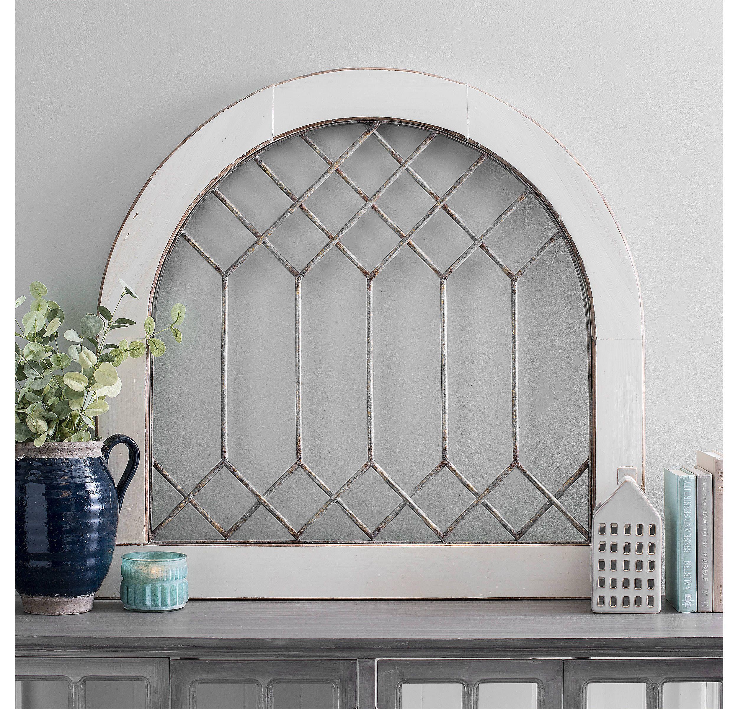 Wood And Metal Diamond Pane Arch Wood Wall Decor Living Room