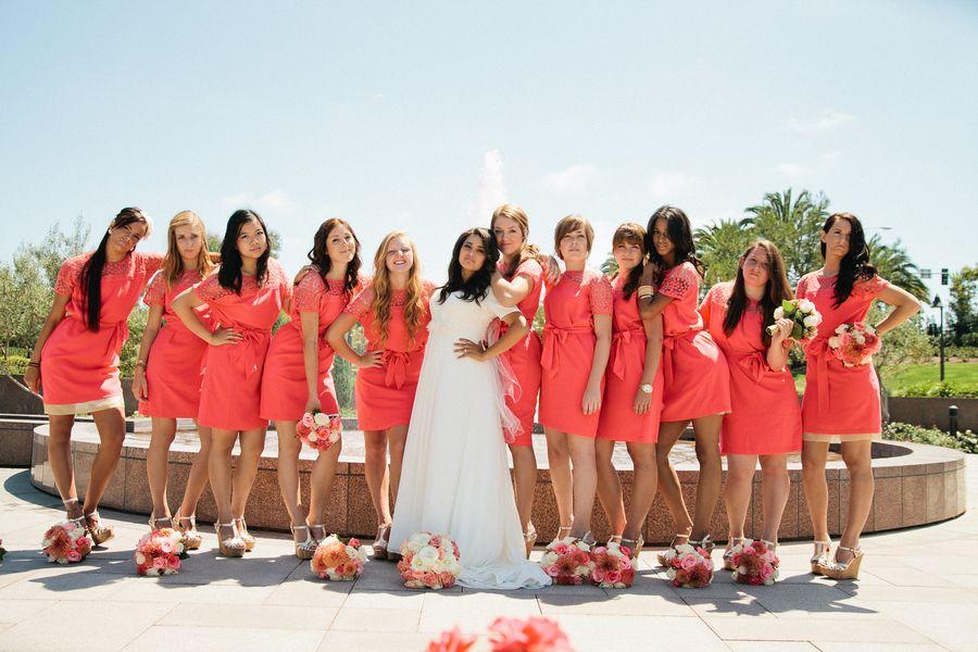 A Coral, Pink, Gray & Cream Newport Beach Temple Wedding | Coral ...