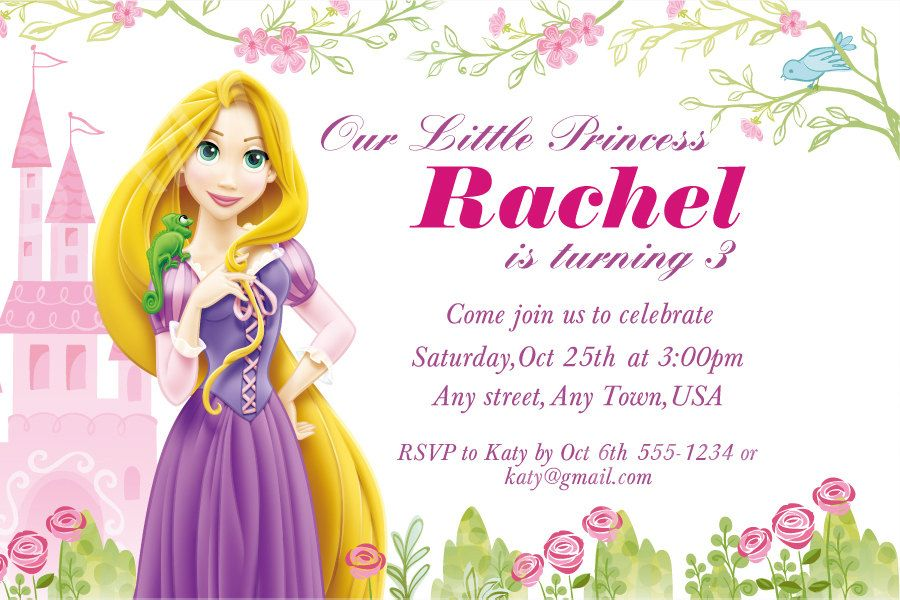 Invitacin de princesa disney invitacin del cumpleaos de rapunzel birthday invitations to create dreams birthday invitation with fair layout 14 bookmarktalkfo Image collections