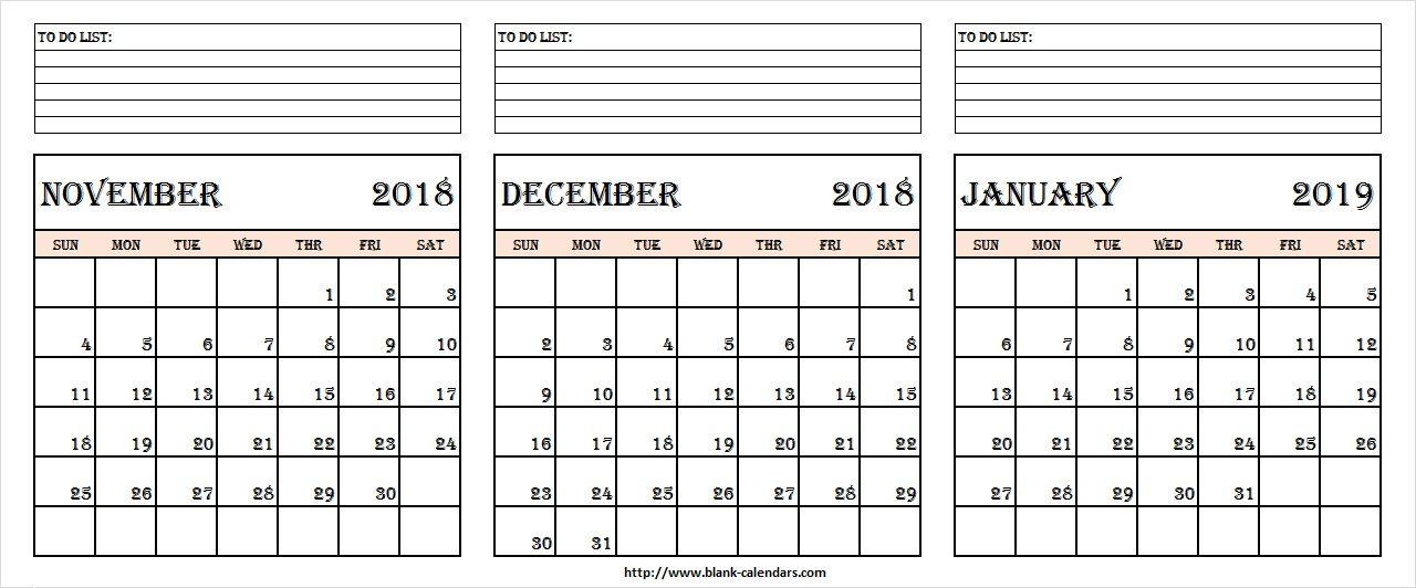 November December 2018 January 2019 Calendar Template November