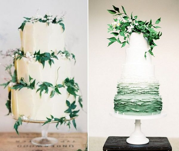 Foliage Decorated Wedding Cakes By Green Lily Barkery Nicole Berrett Photography Left T Bakes Right