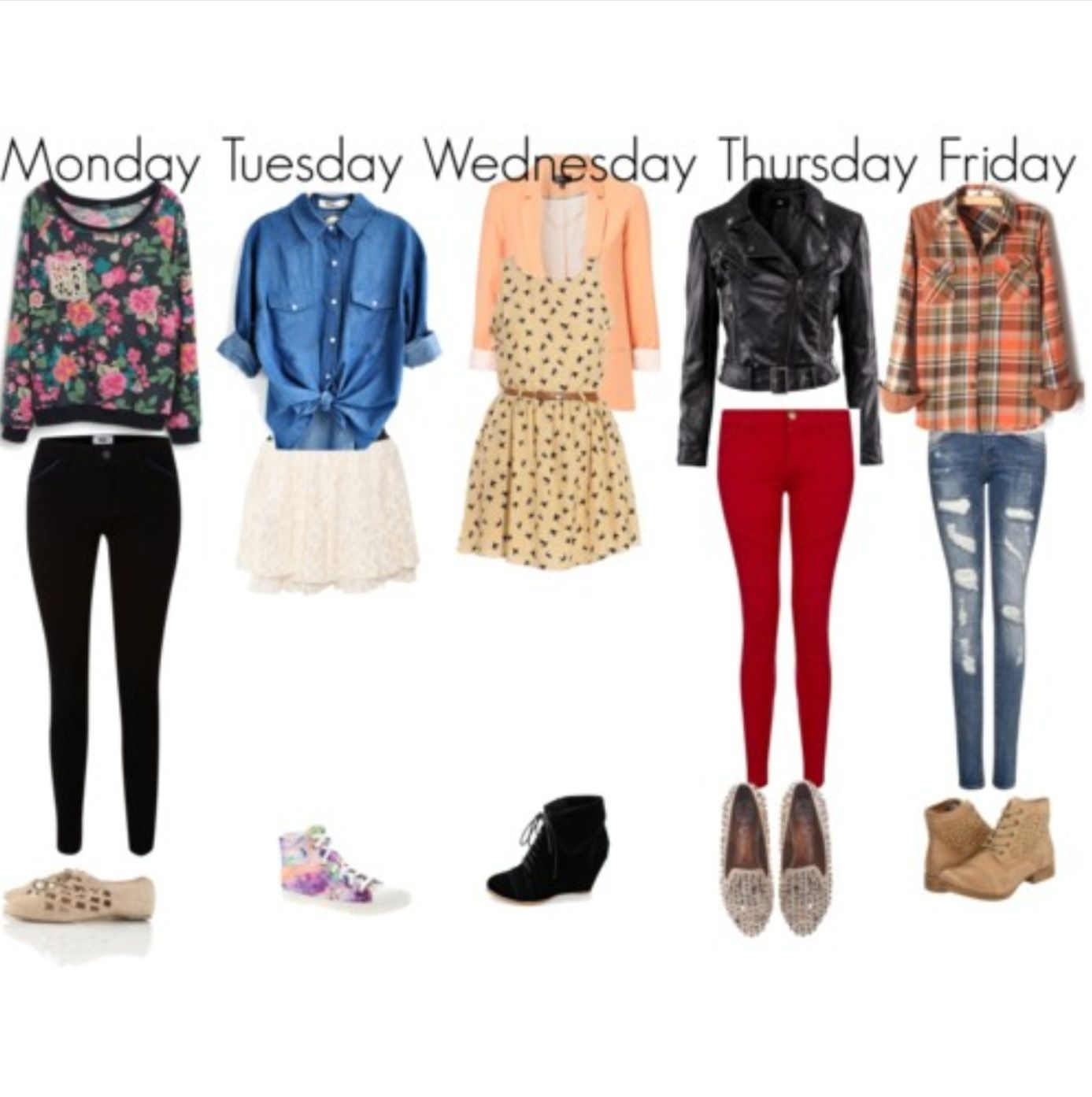 Day of the week outfits  Simple outfits for school, Cute outfits