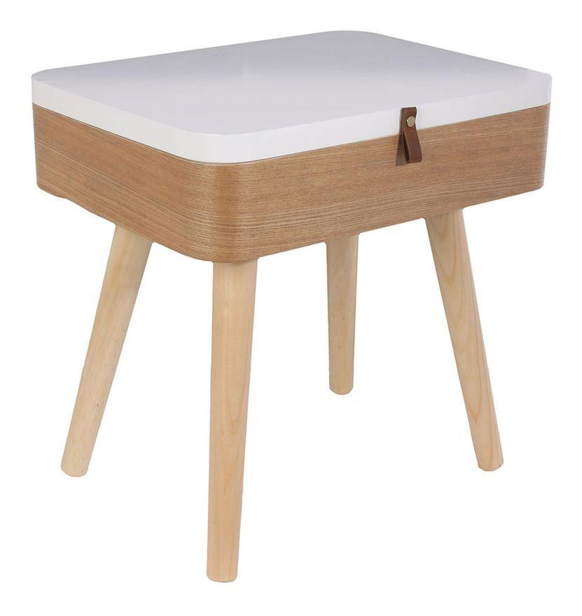 Table De Chevet Vintage Elin L 40 X H 54 Cm Blanc The Home