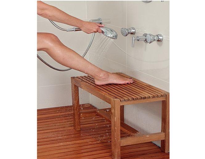 banc de douche en bois de teck massif
