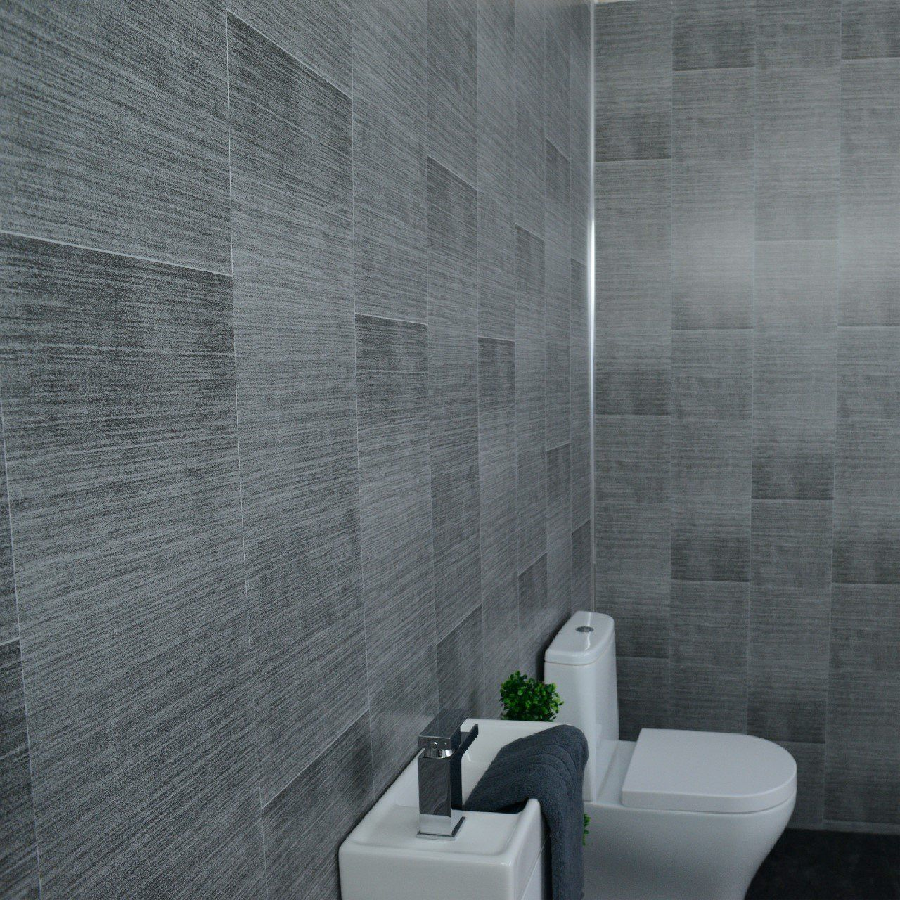 Dark grey bathroom wall panels - large tile effect - small ...