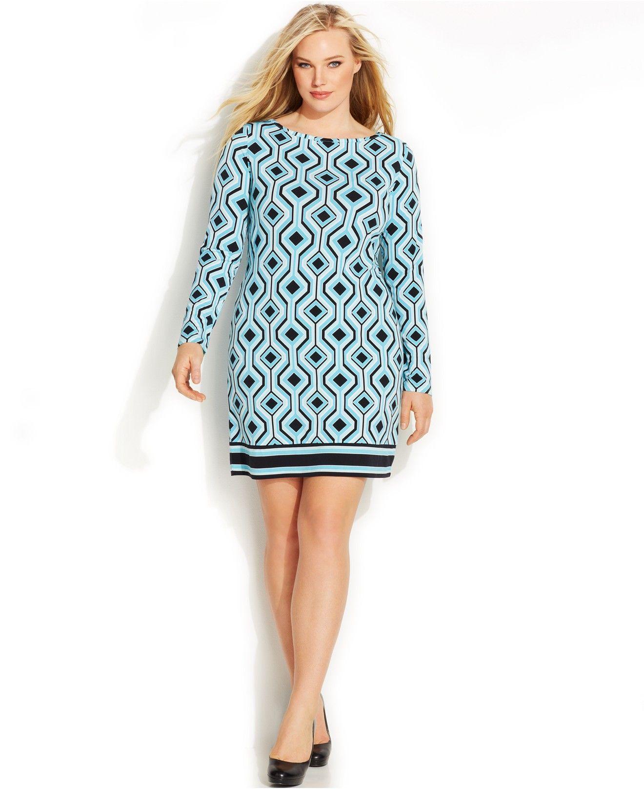 MICHAEL Michael Kors Plus Size Long-Sleeve Geo-Print Shift Dress ...