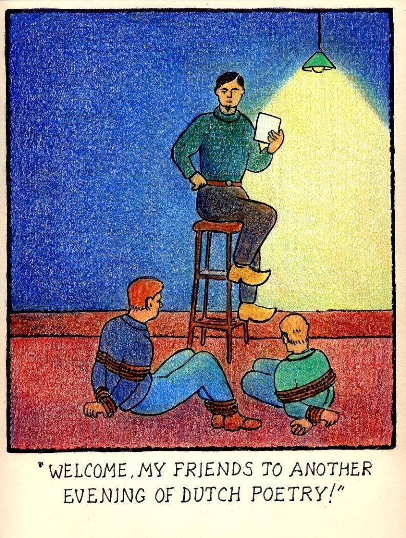 Glen Baxter Dutch Poetry Evening Cartoonist Glen Baxter Comic Panels